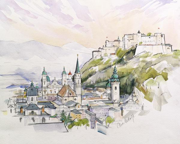 Salzburg Sunrise (w/c on paper)