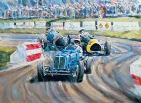 The First Race at the Goodwood Revival, 1998 (oil on canvas)