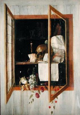 Vanitas still life seen through a trompe l'oeil window