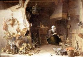 A Kitchen Interior with a Servant Girl Surrounded by Utensils, Vegetables and a Lobster on a Plate