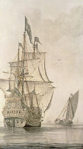 A Man-o'-war under sail seen from the stern with a boeiler nearby