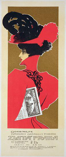 Reproduction of a poster advertising 'Zlata Praha', a weekly illustrated newspaper, Prague