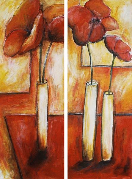 Three Vases Of Flowers Dagmar Zupan As Art Print Or Hand Painted Oil