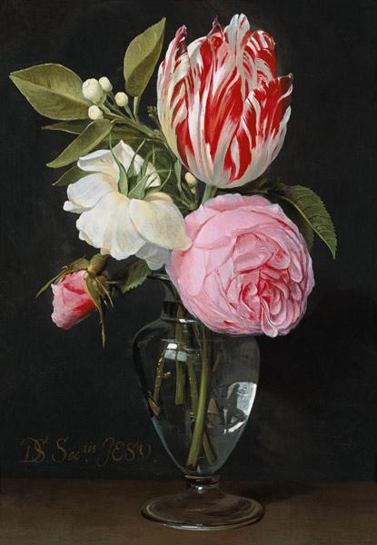 Seghers, Daniel : Flowers in a glass vase