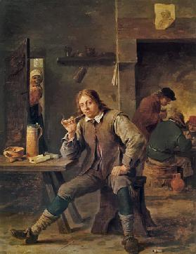 A Smoker Leaning on a Table