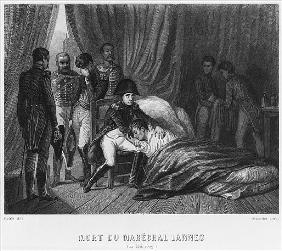 Last moments of Marshal Lannes, Duke of Montebello, at the battle of Essling on 22nd May 1809; engra