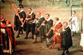 Musicians taking part in The Ommeganck in Brussels on 31st May 1615: Procession of Notre Dame de Sab