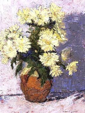 Small Chrysanthemums in a red jug, 1993 (board)