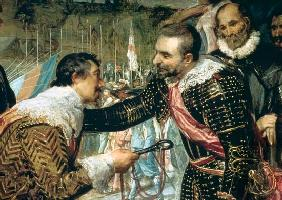 The Surrender of Breda (1625), detail of Justin de Nassau handing the keys over to Ambroise Spinola