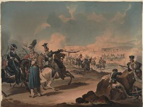 Russian cavalry attacking French infantry at Borodino