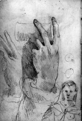 Studies of a hand and a woman