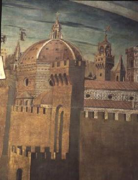 Detail depicting Florence Cathedral, from a fresco of Dante with the 'Divinia Commedia' in the north