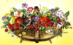 Trug with Fruit, Flowers and Chaffinches, 1991 (acrylic)