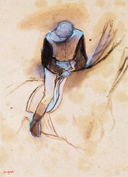 Jockey flexed forward standing in the saddle, 1860-90 (pastel & charcoal on paper)