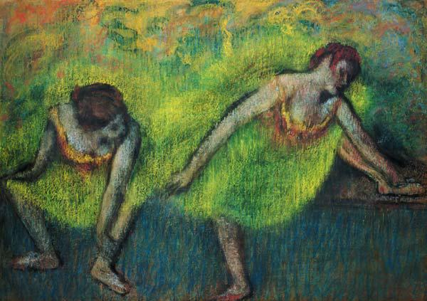 Two dancers relaxing (pastel)