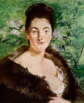 Woman in a fur coat (pastel)