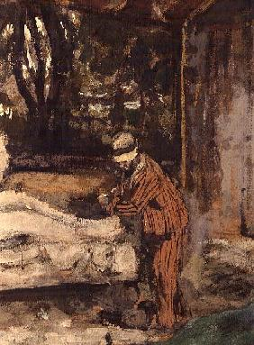 Maillol at work on the Cezanne Memorial, c.1925 (detail)