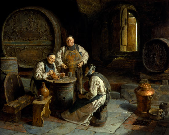 Three monks in the monastic wine cellar eduard gr tzner for Wine cellar paint colors
