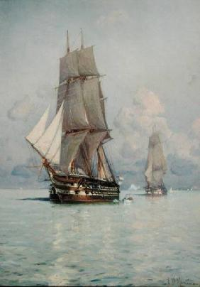 A Squadron o Sail Coming to Anchor
