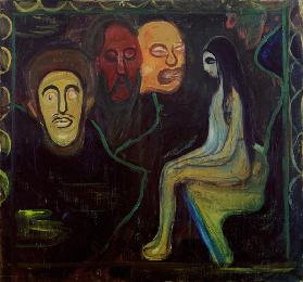 Girl and Three Male Heads