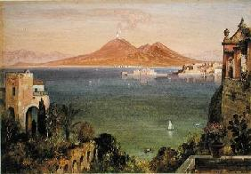 Vesuvius and Castel del Oro, Naples, seen from Villa Cedroni, Posillippo  paper laid on
