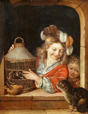 Children with Birdcage and Cat