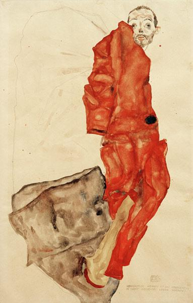 Kneeling Female in ORANGE-RED DRESS Egon Schiele donne vestiti Faks /_ B 01624