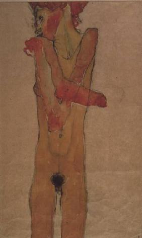 Standing female nude with crossed arms