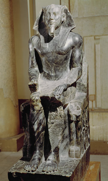 khafre enthroned The attributes of rule: the khafre with his customary headdress and kilt, and augustus with his armor dis- playing scenes of military triumph the way the figures are conceived and posed, however, present dramatic differences.