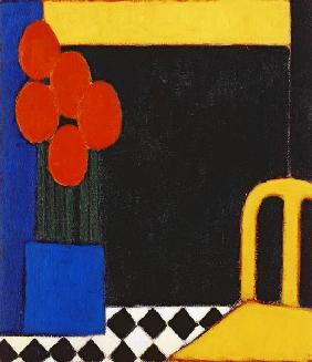 Tulips and Yellow Chair, 2002 (acrylic on paper)