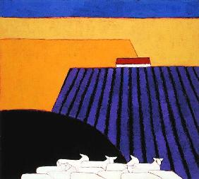 Sheep and Lavender Fields, 2004 (acrylic on paper)