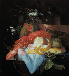 A Still Life with Lobster, Lemon and Grapes