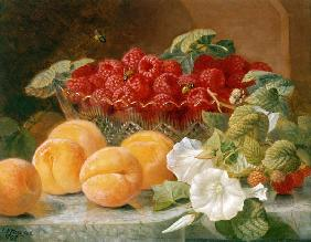 Bowl of raspberries and peaches