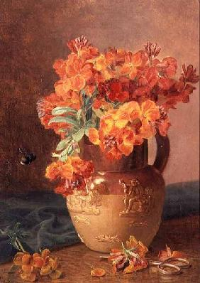 A Still Life with Wallflowers in a Stoneware Jug