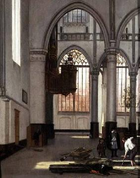 Gravediggers in the west end of the Oude Kerk, Amsterdam