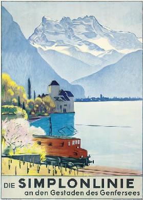 Simplonlinie', poster advertising rail travel around Lake Geneva