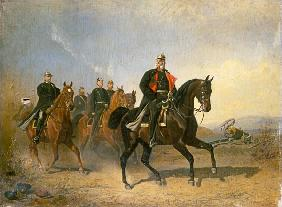 Emperor Wilhelm I. of Preussen to horse with Bismarck and Moltke