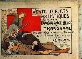Poster advertising a sale of art objects for the benefit of the Belgian Ambulance in the Transvaal,