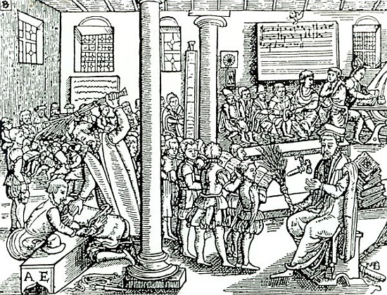 Schoolroom scene in Tudor times - English School as art print or ...