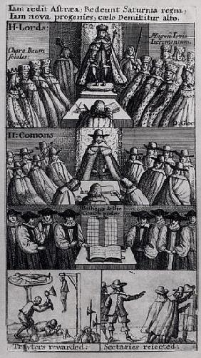 King Charles II (1630-85) with the Houses of Parliament