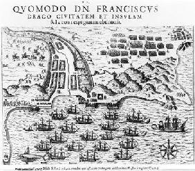 Plan Showing how Francis Drake (c.1540-96) Stormed and Held the Island of San Jacob (engraving) (b/w