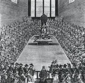King James I (1566-1625) in the Houses of Parliament, 1624 (engraving) (b/w photo)