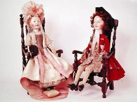 Lord and Lady Clapham, c.1680s (wooden dolls) (see also 2453)
