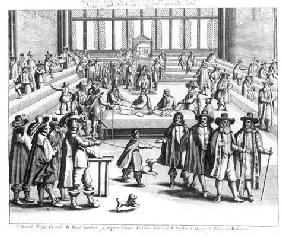 Oliver Cromwell (1599-1658) Dissolving The Parliament (engraving) (b/w photo)