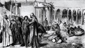 In the Slave-Market at Khartoum (engraving) (b/w photo)