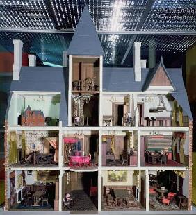 Interior of Victorian Gothic doll's house, 1875 (mixed media)