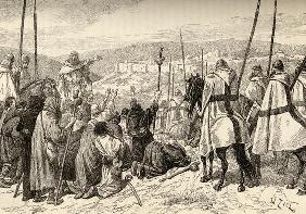 Pilgrims under escort of Knights Templar in front of Jerusalem in the 12th century (engraving)