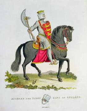 Richard I, King of England (1157-99), 1194, from 'Ancient Armour', by Samuel Rush Meyrick, 1824 (col