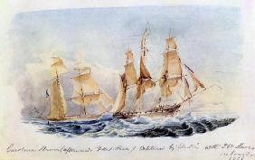 The Slaver 'Carolina' (afterwards HMS 'Fawn') captured in 1838 by the 'Electra' with 350 Slaves on B