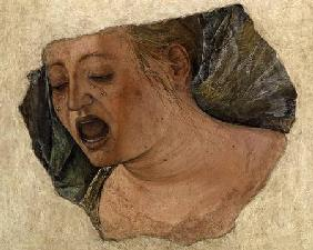 Head of Mary Magdalene Crying, from the Crucifixion